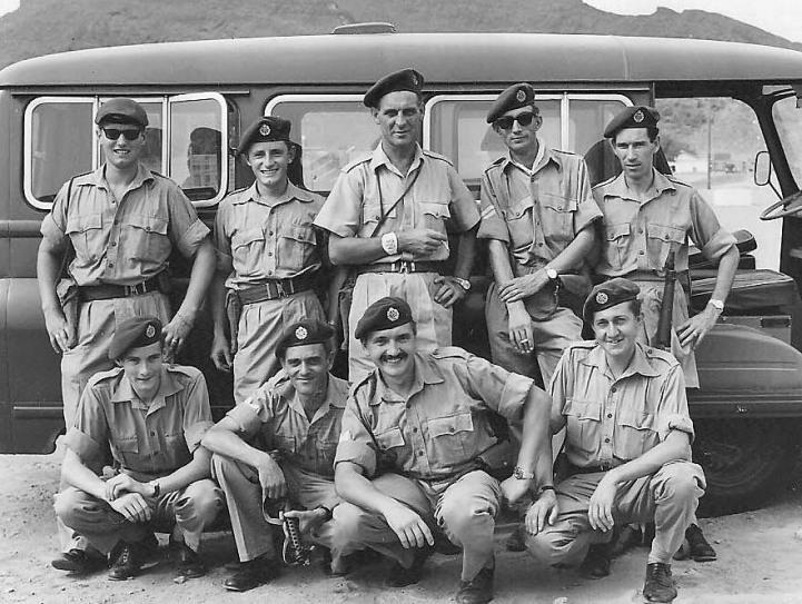 Aden photo section - L to R (back row) Baz Walker; Al Simms; WO Roy Elliott; Cpl Brian Goodwin; Cpl Dutch Holland L to R (front row) ? ; Cpl Don Jones; Cpl Dave Humphrey; Brian Mateer