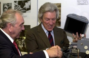 David demonstrates the WW2 F24 aerial camera to the late Lord Lichfield, June 2000.