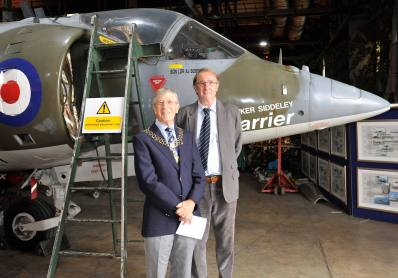 dl1 Two ex Sgt Phot G's , ex Wittering visiting the heritage musem at RAF Wittering. Tony Story and Don Lambert .