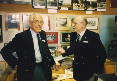 Two legends: Howard Lees with Jack Eggleston pictured in the JSOP Museum, 1996