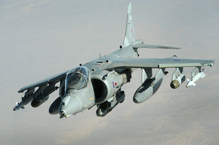 A British military GR-9 Harrier aircraft conducts a combat patrol over Afghanistan Dec. 12, 2008. (U.S. Air Force photo by Staff Sgt. Aaron Allmon/Released)