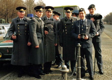 Russiian soldiers with RAF phots Laurie Harris (foreground) and Foggy Dewhirst