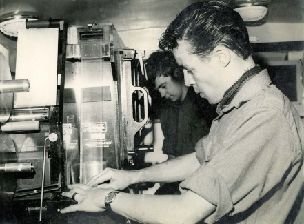 Type 11 70mm film processing machine inside a a trailer of No.1 Mobile Field Photographic Unit (M.F.P.U.) at Wildenrath, it could process black and white film at up to 250 Feet per minut