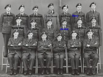Don Finlay (Doc Finlay on your photo) the guy on the photo top right with no name was Roy Vernon. He was discharged not long after photo was taken because of medical problem. Jim Muir and Tony Barrett (titch) went on to be Sqd Leaders and Colin Brown went to WO and died. Doug Mackey went to be head photographer at Cambridge University, Tony Ellison now lives in Perth Aus.