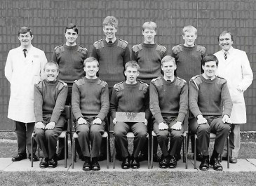 APP2 30 Sgt Hawker? on the left - and of course Dave Humphrey on the right. Back Row: De George, ?, ? , Woodhams Front Row: Perks, Humphreys, ?, Warner, Betty.