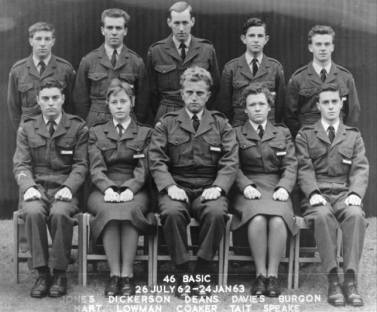 This is really going back in time: 46 Basic, Wellesbourne Mountford 1962. Still in touch with Dave Hart, Dave Coaker and Brian Richards (who's not in the photo). We passed out in January 1963, a terrible winter you oldies will remember. Dave Hart transferred to the Army and ended up as an RE regimental sergeant major, Brian Richards lives in Perth and worked for National Geographic, Dave Coaker lives in Plymton, Plymouth and in his 80s now. I last heard of Terry Burgon living in Portugal. I know Shiela married a Cpl photog, John somebody on 16 Sqn at Laarbruch, but I don't know what happened to rest of the course. Mike Speake