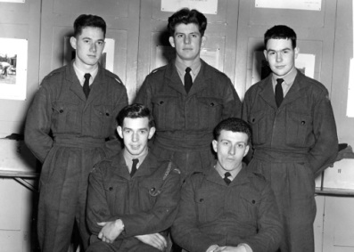 No 3 Basic Photography Course September 1st 1960 ----- February 23rd 1961 Back L to R Barry (Ted) Andow, Barry Duffield, Bob Fothergill Front L to R Tony Gaskell, Mel Douglas The above were only part of a larger course.