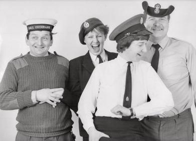 Derek Sykes and Bob Martin RAF Leuchars 1982-83 a laugh with 2 WRENS