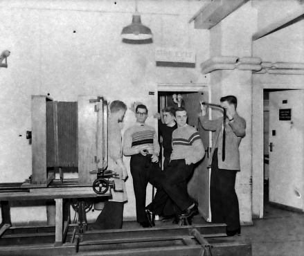 Our training course 1956. Ray Ralph, Pete Hawke, Terry Buchanan, Denis Spooner.